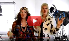 Bonnie Kilroe and Barb Oliver with their tribute to the Absolutely Fabulous movie